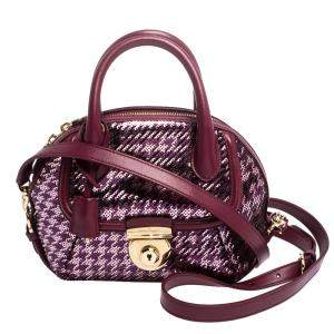 Salvatore Ferragamo Purple Sequin Embellished Mini Fiamma Satchel