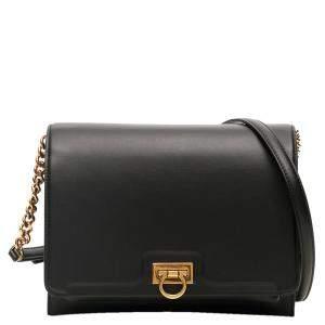 Salvatore Ferragamo Black Leather Trifolio Bag