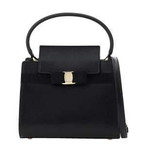Salvatore Ferragamo Black Leathre Vara New Bag