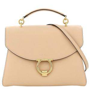 Salvatore Ferragamo Almond Leather Margot Large Bag