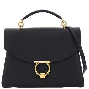 Salvatore Ferragamo Black Leather Margot Large Bag