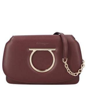 Salvatore Ferragamo Brown Mini Vela Leather Crossbody Bag