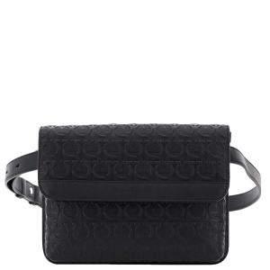 Salvatore Ferragamo Black Embroidered Leather Gancini Belt Bag