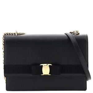 Salvatore Ferragamo Black Leather Vara Bow Bag