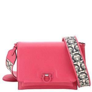 Salvatore Ferragamo Pink Leather Trifolio Small Bag