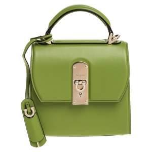 Salvatore Ferragamo Green Leather Small Boxyz Top Handle Bag