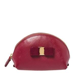Salvatore Ferragamo Dark Fuchsia Leather Vara Bow Coin Purse