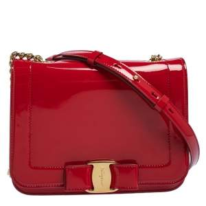 Salvatore Ferragamo Red Patent Leather Vara Bow Chain Shoulder Bag