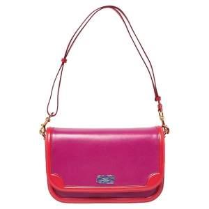 Salvatore Ferragamo Purple/Red Leather Flap Shoulder Bag