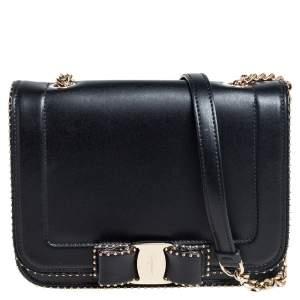 Salvatore Ferragamo Black Leather Vara RW Flap Shoulder Bag