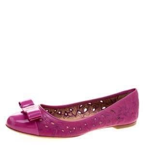 Salvatore Ferragamo Pink Varina Leather Laser Cut Out Ballet Flats Size 41