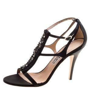 Salvatore Ferragamo Black Embellished Satin and Leather Shine T-Strap Sandals Size 41
