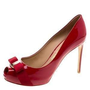 Salvatore Ferragamo Red Patent Leather Plum Peep Toe Platform Pumps Size 40.5