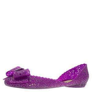 Salvatore Ferragamo Purple Nilly Jelly Bow Ballet Flats Size 40.5