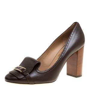 Salvatore Ferragamo Brown Leather Ninu Pumps Size 40.5