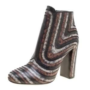 Salvatore Ferragamo Multicolor Leather Feeling Zig Zag Block Heel Ankle Boots Size 38.5