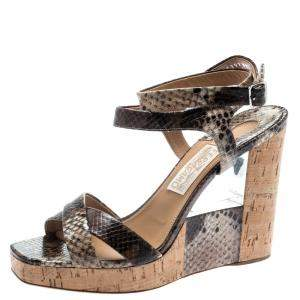 Salvatore Ferragamo Multicolor Python Embossed Leather Wedge Sandals Size 40
