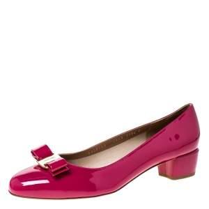 Salvatore Ferragamo Pink Patent Leather Vara Bow Pumps Size 41