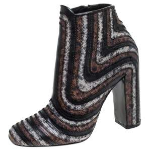Salvatore Ferragamo Multicolor Leather Feeling Zig Zag Block Heel Ankle Boots Size 37.5