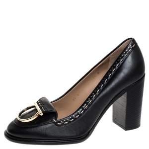 Salvatore Ferragamo Black Leather Fele Gancio Detail Block Heel Loafer Pumps Size 41