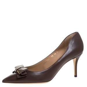 Salvatore Ferragamo Brown Leather Bow Pointed Toe Pumps Size 40.5