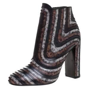 Salvatore Ferragamo Multicolor Leather Feeling Zig Zag Block Heel Ankle Boots Size 39.5