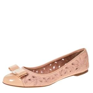 Salvatore Ferragamo Beige Laser Cut Embroidered Leather Varina Bow Cap Toe Ballet Flats Size 40.5