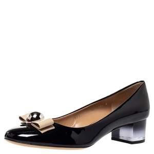 Salvatore Ferragamo Black Patent Leather Fiammetta Bow Pumps Size 41