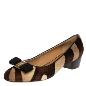 Salvatore Ferragamo Brown/Beige Pony Hair Vara Bow Pumps Size 37.5