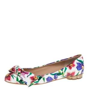 Salvatore Ferragamo Multicolor Floral Print Patent Leather Avola Bow Ballet Flats Size 39