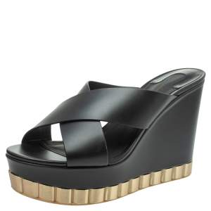 Salvatore Ferragamo Black Leather Nicosia Wedge Platform Cross Strap Sandals Size 39.5
