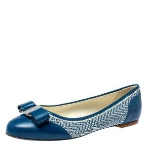Salvatore Ferragamo Blue Embossed Textured Leather Vara Bow Ballet Flats Size 38