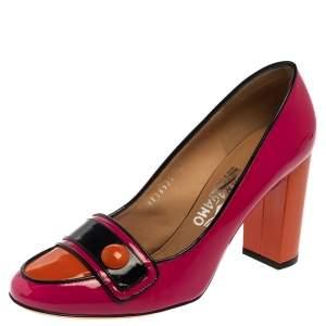 Salvatore Ferragamo Multicolor Patent Leather Pacita Pumps Size 39