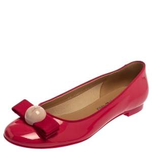 Salvatore Ferragamo Pink Patent Leather Ballet Flats Size 39
