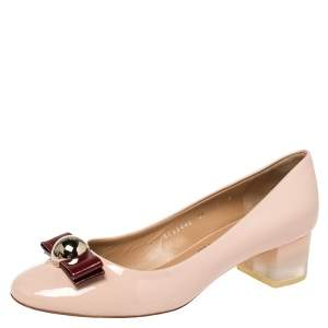 Salvatore Ferragamo Pink Patent Leather Fiammetta Bow Pumps Size 40
