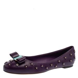 Salvatore Ferragamo Purple Studded Leather Varina Sky Ballet Flats Size 40.5