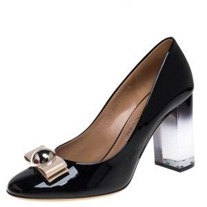 Salvatore Ferragamo Black Patent Leather Fiammetta Bow Pumps Size 40.5