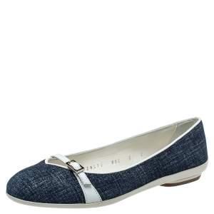 Salvatore Ferragamo Blue Denim Print Suede Audrey Flats Size 35.5