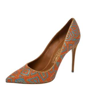 Salvatore Ferragamo Orange/Blue Beaded Mosaic Fiore Pumps Size 39.5