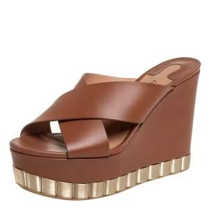 Salvatore Ferragamo Brown Leather Nicosia Wedge Platform Cross Strap Sandals Size 36.5