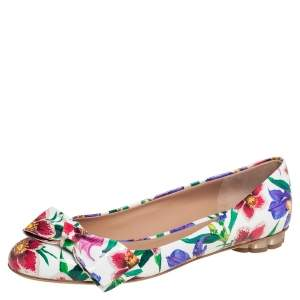 Salvatore Ferragamo White Floral Print Patent Leather Avola Bow Ballet Flats Size 39