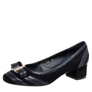 Salvatore Ferragamo Black Leather and  Suede Block Heel Pumps Size 40