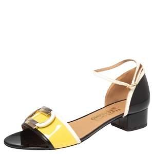 Salvatore Ferragamo Tricolor Leather And Patent Leather Glenn Sandals Size 40.5