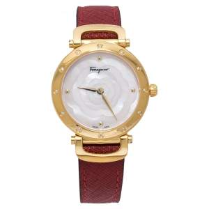 Salvatore Ferragamo Pink Mother Of Pearl Gold Plated Stainless Steel Leather Diamond Style SFDM Women's Wristwatch 34 mm