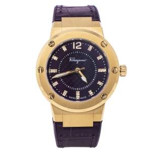 ساعة يد نسائية سالفاتوري فيراغامو أف-80 أف آي جي160016 ألماس و ستانلس ستيل مطلي ذهب بنفسجية 33 مم