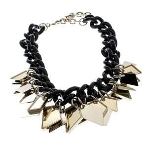Salvatore Ferragamo Gold Tone Tags Black Resin Link Chain Necklace