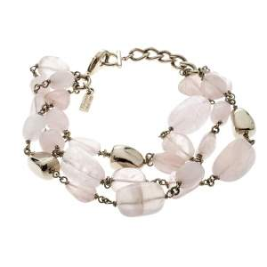 Salvatore Ferragamo Tumbled Rose Quartz Gold Tone Bead Bracelet