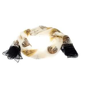 Salvatore Ferragamo Cream Zebra and Circle  Printed Silk Chiffon Scarf