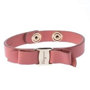 Salvatore Ferragamo Vara Bow Pink Leather Gold Tone Bracelet