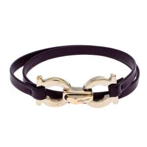 Salvatore Ferragamo Purple Leather Gancini Double Wrap Bracelet